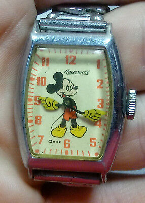 Old 1930s 40s MICKEY MOUSE Us Time INGERSOLL Character Wrist WATCH