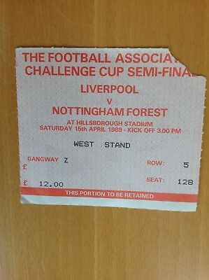 Ticket 1989 F.A Cup Semi Final Liverpool v Nottingham Forest @ Hillsborough