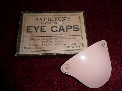 Vintage Boxed HARRISONS featherweight EYE CAP / PATCH  U.S Patent 1889.... Rare