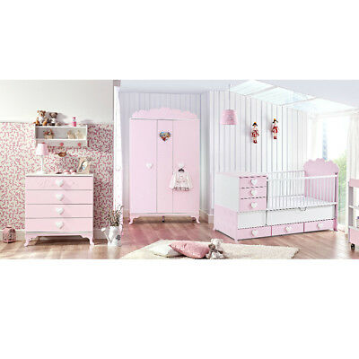 Babyzimmer Komplett Set Little Princess mit Schrank, Kommode & 2in1 Bett in Rosa
