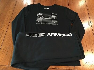 Under Armour Matching Set Long Sleeve Shirt YL and Pants YXL Black and White