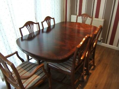 Mahogany Twin Pedestal Antique Style  Extendable Dining Table And 6 Chairs