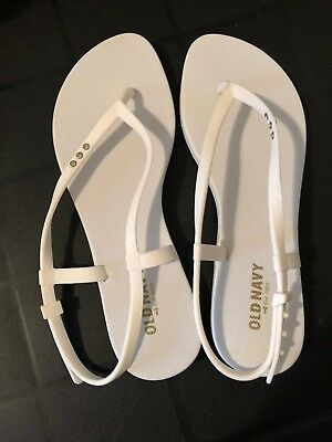 WOMENS OLD NAVY WHITE FLIP FLOPS SANDALS WITH RHINESTONES NEW size 8