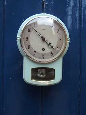 Wall clock Smiths Enfield sky blue key pendulum working