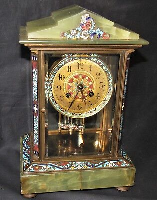 Nice French Four Glass Clock With Onyx & Enamel Detail