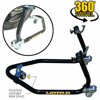 "MOTO-D ""Pro-Series"" Floating Caster Wheels Swingarm Motorcycle Stand - Rear"