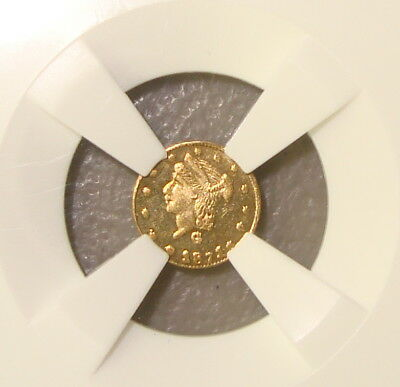 1871 BG-839 Round Liberty 25¢ California Fractional Gold Token NGC MS63PL