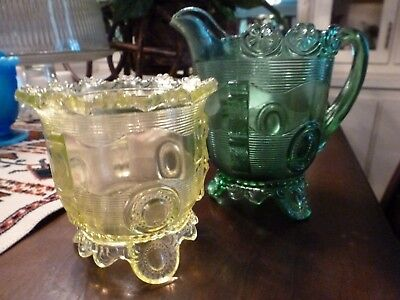 Vintage Green Uranium Indiana Glass Coin Print Flower Flange 1898 Creamer &sugar