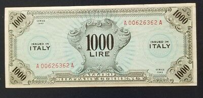 Italy 1000 Lire  1943 Allied Military Payment World War Ii Amc Currency
