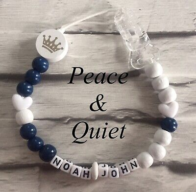 Personalised Dummy Clip💙Wooden💙Dummy Chain💙blue💙grey💙boy💙crown💙 #PWP