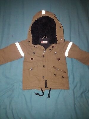 Diesel Boys 18 Months Light Brown Parka Heat Lined Coat In VGC