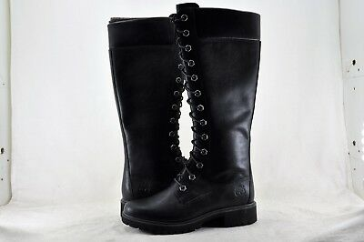 """Women's Timberland 14"""" Side Zip Waterproof Leather Boots Size 5.5 Black TB08632A"""