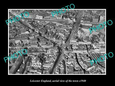 OLD LARGE HISTORIC PHOTO OF LEICESTER ENGLAND, AERIAL VIEW OF THE TOWN c1940 2