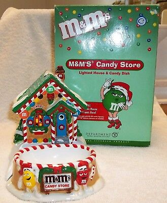 Dept 56 M&M's Ceramic Candy Store Lighted House & Candy Dish, 2004