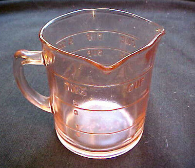 Vintage Kellogg's Promotional Pink Glass 3-Spout 1-Cup Measuring Cup