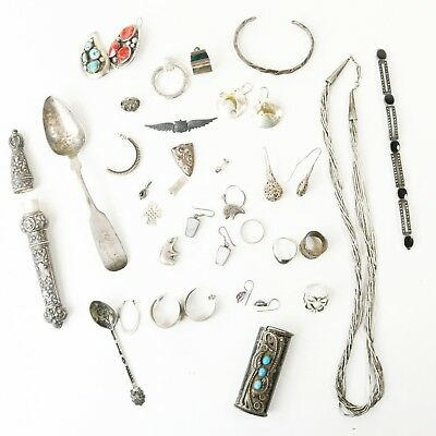 Lot 925 Sterling Silver Most Scrap 277.48g - Earrings, Rings, Flatware, Bracelet