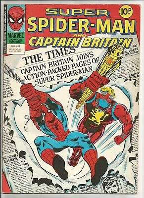 SUPER Spider-Man & Captain Britain. #231. from 1977. FVF. Large Format. UK.