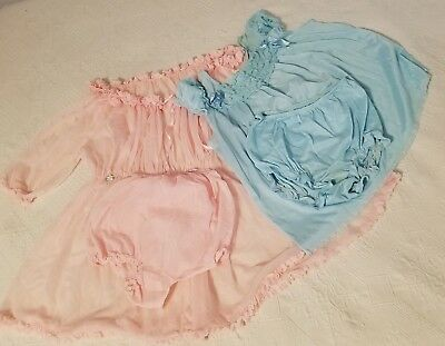 Lot 2 Vtg 60's Babydoll Nities - Pajamas Bloomers Sets Pink Union, Blue Sears