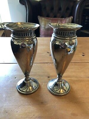 """Antique Pair Of Silver Plate 8""""-Tall Vases"""