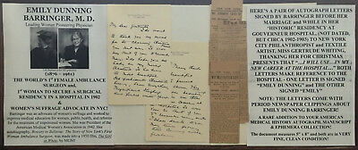 1st FEMALE AMBULANCE HOSPITAL SURGEON WOMEN'S SUFFRAGE DOCTOR LETTER SIGNED 1902