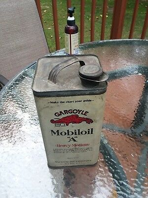 Vintage GARGOYLE mobiloil  A can. Made by Vacuum oil company.  New York.  USA