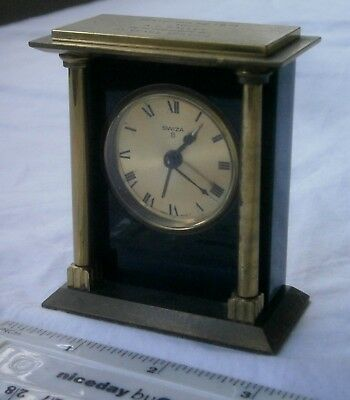 1970s Swiza Black Slate And Brass Pillared 8 Day Mantle Alarm Clock,