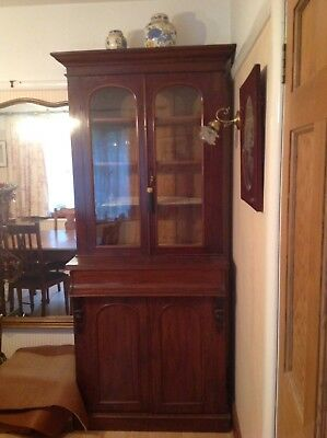 Victorian Mahogany Glass Fronted Bookcase With Drawer &  Two Door Cupboard