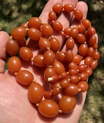Vintage Butterscotch Egg Yolk Natural Baltic Amber Bead Necklace 57 Grams -35.5""