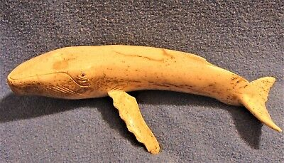 AWESOME VINTAGE CARVED WHALE w/ BROKEN FIN NEEDS GOOD HOME LOOKS GREAT ON 1 SIDE