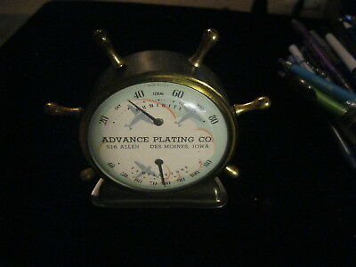 Vintage Ship wheel Ideal Thermometer and barometer Advance plating Des Moines IA