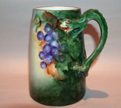 8550: Antique J & C Bavaria Dragon Handle Tankard Grapes Hand Painted