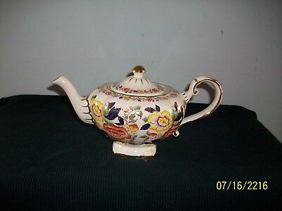 Very Attractive Arthur Wood Gaudy & Gold Trim Floral Decorated Teapot