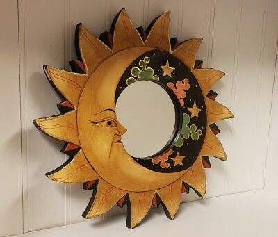 Hand made In Indonesia Sun and Moon Wooden Mirror unique hippy design