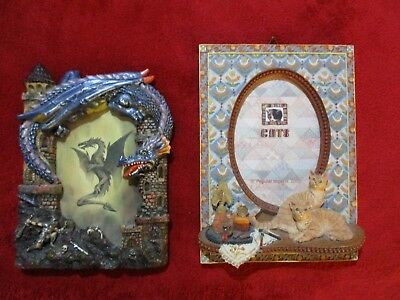Lot of Two Resin Picture Photo Frames Dragon and Cats