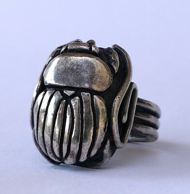 Antique Egyptian Revival Solid Sterling Silver Scarab Beetle Signet Band Ring