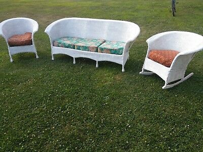 ANTIQUE 3 PC WICKER SET - Sofa, Rocker & Chair - Made by Bloch Bar Harbor Style