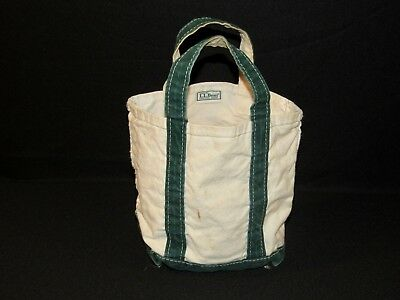 Vintage 80's LL BEAN Green Trim Boat & Tote Canvas Bag Freeport Maine Small