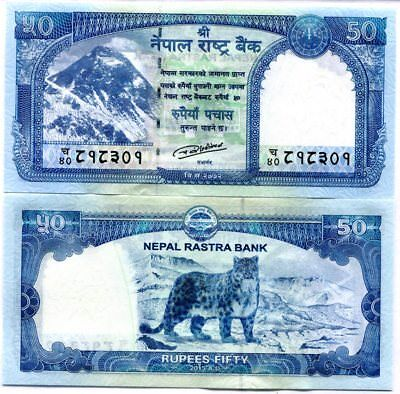 Nepal 50 Rupees 2015 / 2016 P New Snow Leopard At Back Unc Nr