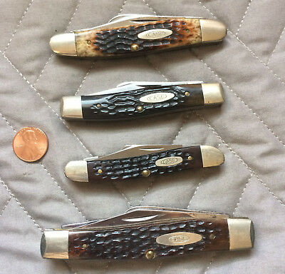 LOT OF 4 Vintage 1980s Case XX Stockman Folding 3 Blade Pocket Knife 6375 6347 +