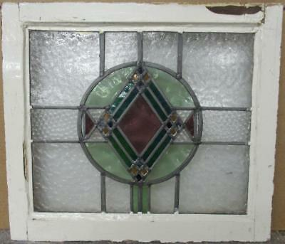 """OLD ENGLISH LEADED STAINED GLASS WINDOW Pretty Colorful Diamond 21.75"""" x 19.5"""""""