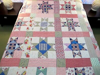 Vintage Feed Sack Hand Quilted OHIO STAR Thin Quilt, Well Used, Soft; But GOOD !