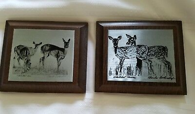Charles Beckendorf Nature Metal Etching  Whitetail Deer, fawns 2  ETCHINGS