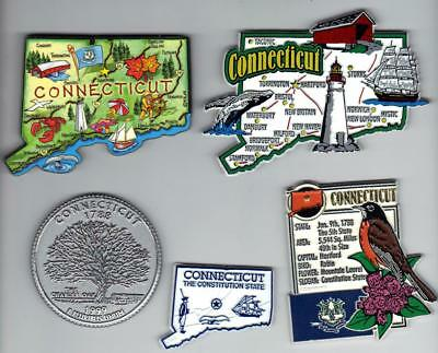 CONNECTICUT  MAGNETS 5  NEW  SOUVENIRS includes JUMBO and ARTWOOD  MAP MAGNETS
