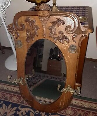 Antique Tiger Oak Victorian Mirror Coat Rack