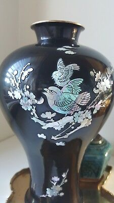 Brass, black enamel with mother of pearl inlay vase - excellent condition 30cm