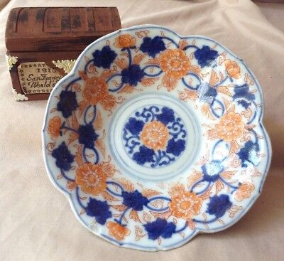 Antique Signed Japanese IMARI SCALLOPED Plate Or Shallow Bowl Dish Hand Painted