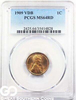 1909 VDB PCGS Lincoln Cent Wheat Penny, RED, PCGS MS 64 RD