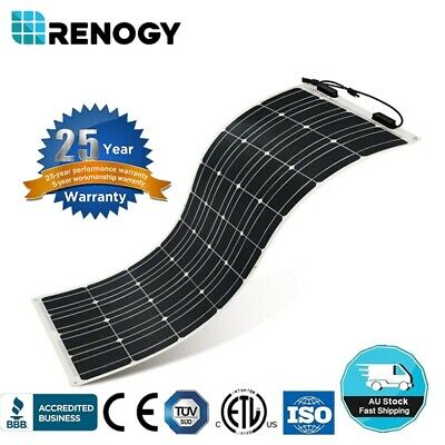 Renogy Highly Flexible 50W 100W 160W Watt Mono Solar Panel RV Boat Van 12V Power