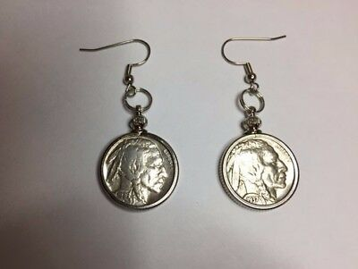 Sparkling Vintage Indian Head/ Buffalo Nickel  Coin Earrings, Authentic coins