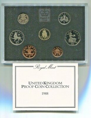 1988 United Kingdom Proof Set 7 Coins in Original Packaging with COA
